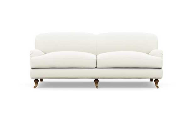 Rose by The Everygirl Sofa with White Ivory Fabric and Oiled Walnut with Brass Caster legs - Interior Define