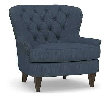 Cardiff Upholstered Tufted Armchair, Polyester Wrapped Cushions, Performance Heathered Tweed Indigo - Pottery Barn