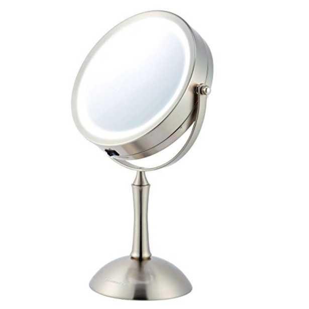 Lighted Makeup Mirror Cool LED Lighting Illuminated Tabletop Vanity Mirror - Home Depot