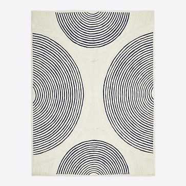 Jute Ripple Circles Rug, Natural, 8'x10' - West Elm