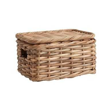 Aubrey Woven Lidded Baskets, Small - Natural - Pottery Barn