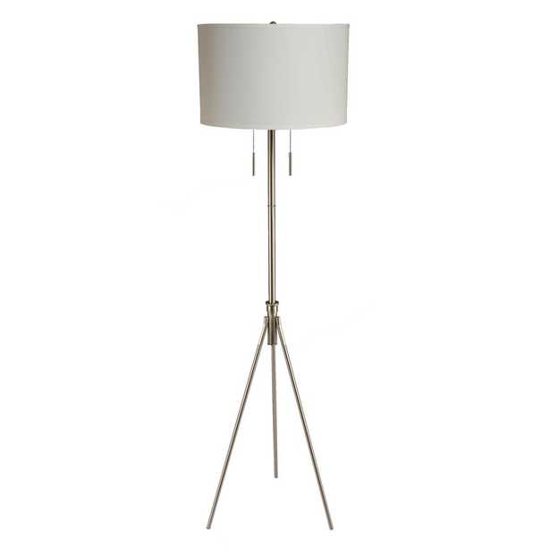 Ore International 58 in. to 72 in. H Mid-Century Adjustable Tripod Silver Floor Lamp - Home Depot
