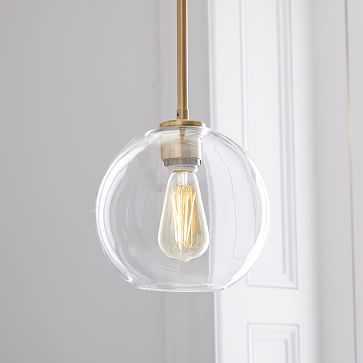 Sculptural Glass Globe Pendant, Small Globe, Clear Shade, Brass Canopy - West Elm