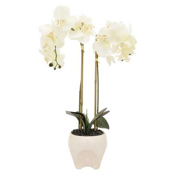 17 in. x 6 in. White Faux Orchid Flower Pot - Home Depot