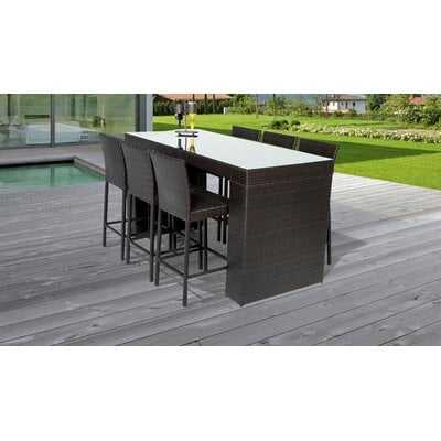 Fernando Bar Table Set With Barstools 7 Piece Outdoor Wicker Patio Furniture - Wayfair