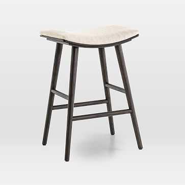 Oak Wood + Upholstered Saddle Counter Stool, Light Carbon/Essence Natural - West Elm