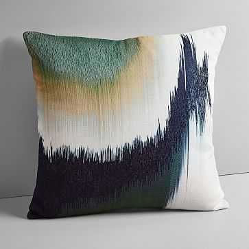 """Embroidered Abstract Ikat Pillow Cover, Midnight, 20""""x20"""" - West Elm"""
