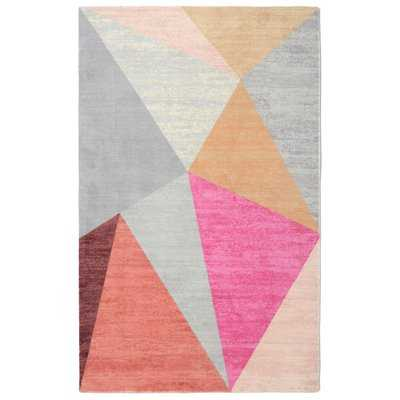 Boudreaux Pyramid Mid-Century Geometric Pink/Gray Area Rug - Wayfair