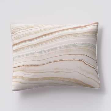 Organic Sateen Marble Standard Sham, Pink Blush - West Elm