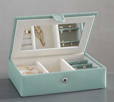 Mckenna Leather Travel Jewelry Box - Porcelain Blue - Pottery Barn