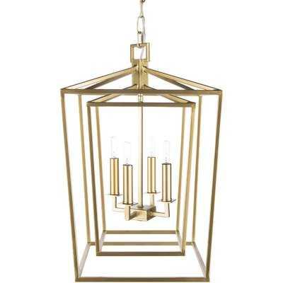 Susanna Transitional 4-Light Lantern Chandelier, Gold - Wayfair