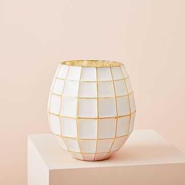 Gold + White Lantern Candle, Small - West Elm
