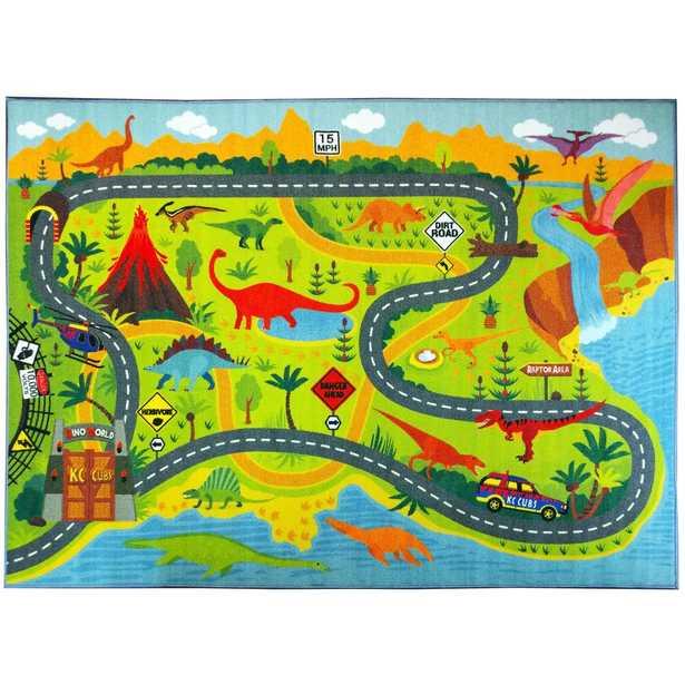 Multi-Color Kids Children Bedroom Dinosaur Dino Safari Road Map Educational Learning Game 5 ft. x 7 ft. Area Rug, Multi-Colored - Home Depot