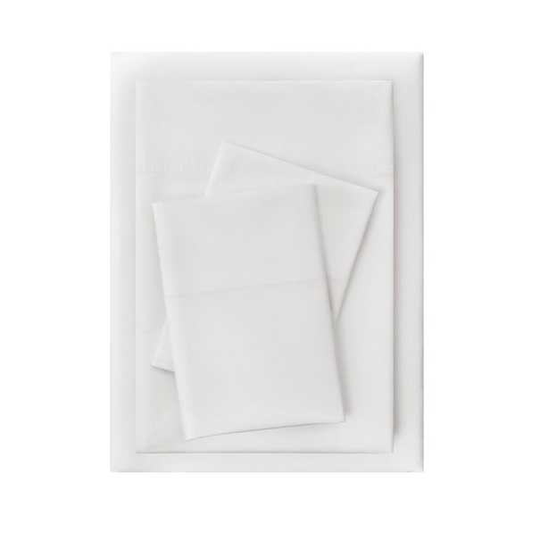 Vintage Washed Cotton Percale 4-Piece King Sheet Set in White - Home Depot