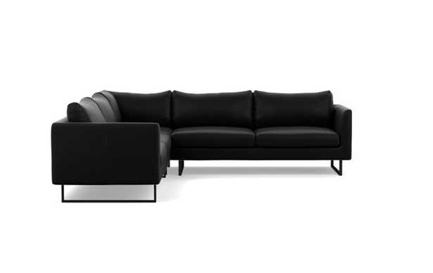 Owens Leather Corner Sectional with Black Night Leather and Matte Black legs - Interior Define