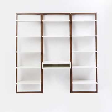Ladder Shelf Storage Leaning Wall Desk + 2 Wide Shelves - Set 2: White Lacquer/Espresso - West Elm