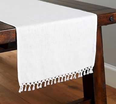 Fringed Linen Knotted Table Runner, Large, White - Pottery Barn