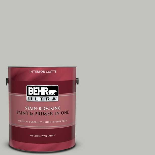 BEHR ULTRA 1 gal. #QE-50 Gull Gray Matte Interior Paint and Primer in One - Home Depot
