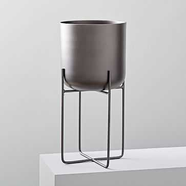 Spun Metal Standing Planter, Antique Bronze, Large - West Elm