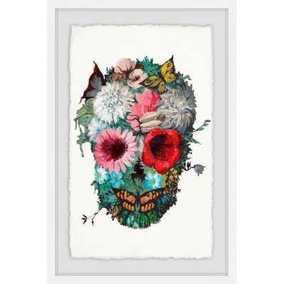'Vibrant Flower Skull' Framed Acrylic Painting Print - Wayfair