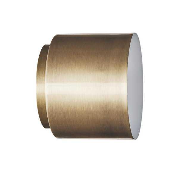Southern Enterprises Himpton 4.75 in. Brushed Brass Flush-Mount Metal Sconce - Home Depot