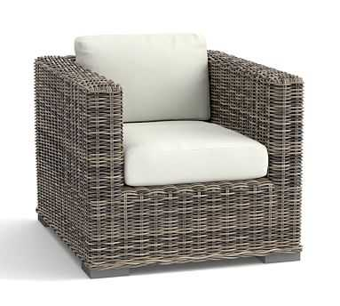 Huntington All-Weather Wicker Square-Arm Occasional Chair, Gray - Pottery Barn