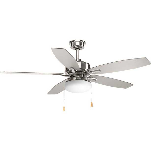 Progress Lighting Billows Collection 52 in. LED Indoor Brushed Nickel Ceiling Fan with Light Kit - Home Depot