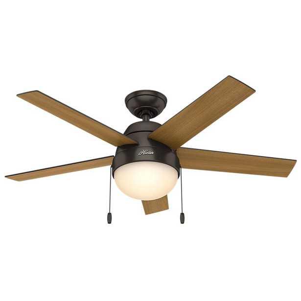 Hunter Anslee 46 in. Indoor Premier Bronze Ceiling Fan with Light - Home Depot