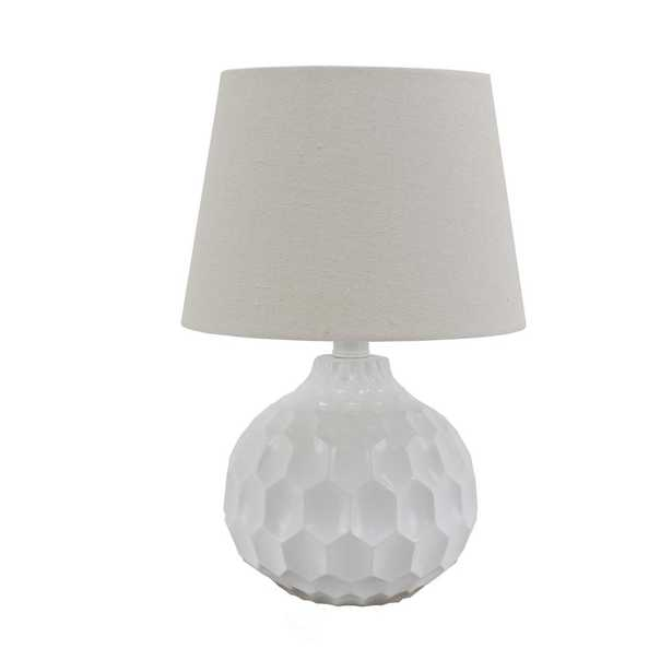 Decor Therapy Bing Faceted 14.5 in. Glossy White Table Lamp with Linen Shade - Home Depot