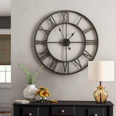 Oversized Elborough Roman No. Iron Wall Clock - Wayfair