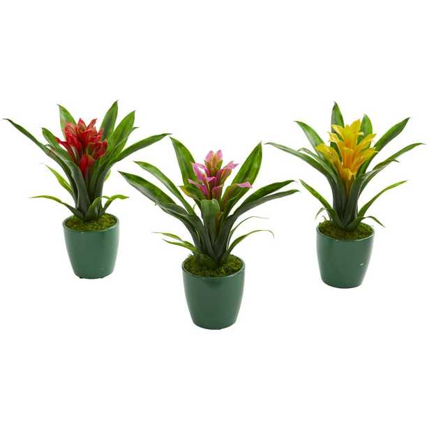 Nearly Natural Indoor Bromeliad Artificial Plant in Green Planter (Set of 3) - Home Depot