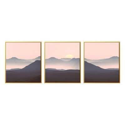 'Navy Pink Sunset' Graphic Art Multi-Piece Image on Canvas - AllModern