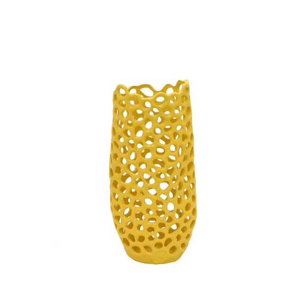 Yellow Ceramic Pierced Decorative Vase with Glossy Finish - Home Depot