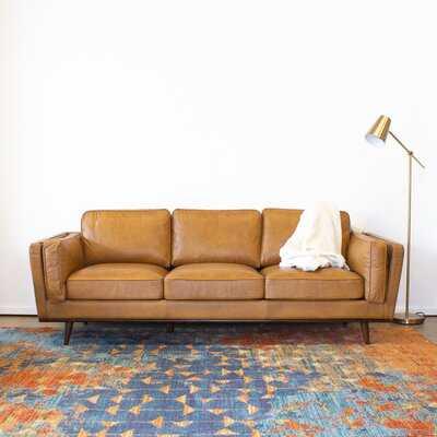 "Lesa Genuine Leather 88"" Square Arm Sofa - Wayfair"