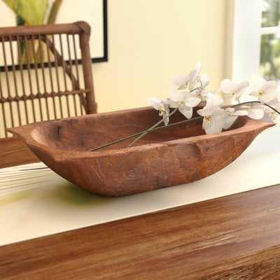Glenfield Deep Wooden Dough with Handles Decorative Bowl - Birch Lane