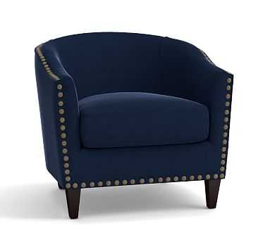 Harlow Upholstered Armchair with Bronze Nailheads, Polyester Wrapped Cushions, Performance Everydayvelvet(TM) Navy - Pottery Barn