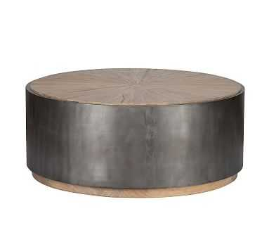 Brockton Metal Wrapped Coffee Table, Natural And Antiqued Black - Pottery Barn