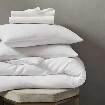 Belgian Flax Linen Bedding Set, White, Full - West Elm