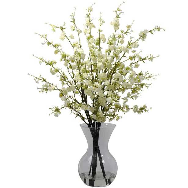 Cherry Blossoms with Vase Arrangement in White - Home Depot