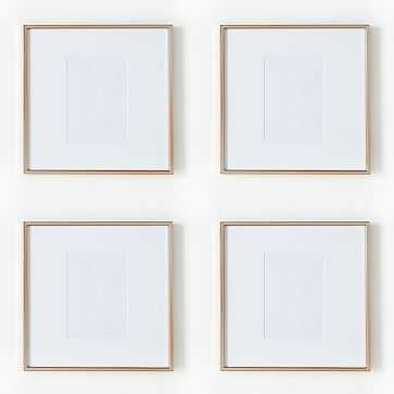 """Gallery Frame, Rose Gold, Set of 4, 5"""" x 7"""" (12"""" x 12"""" without mat) - West Elm"""