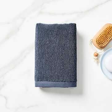 Organic Textured Towel, Hand Towel, Granite Blue - West Elm