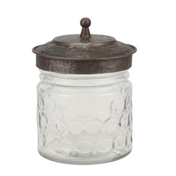 Clear Round Pressed Glass Container with Pewter Lid - Home Depot