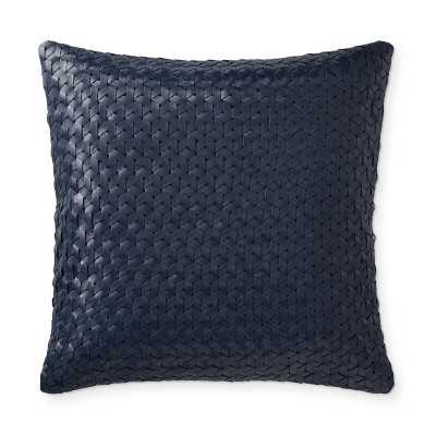"""Interlace Leather Pillow Cover, 18"""" X 18"""", Navy - Williams Sonoma"""