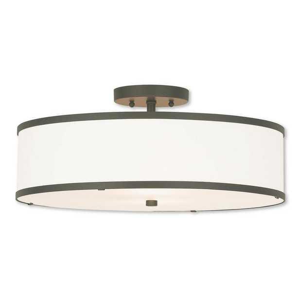 Livex Lighting Park Ridge 3-Light Bronze Semi-Flushmount - Home Depot