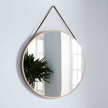"Modern Hanging Oversized Mirror, Natural/Tan, 36"" - West Elm"