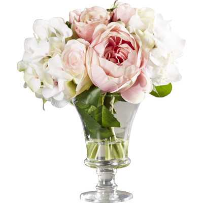 Faux Rose and Hydrangea Floral Arrangement in Pedestal Glass Vase - Birch Lane