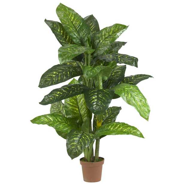 Real Touch 5 ft. Green Dieffenbachia Silk Potted Plant - Home Depot