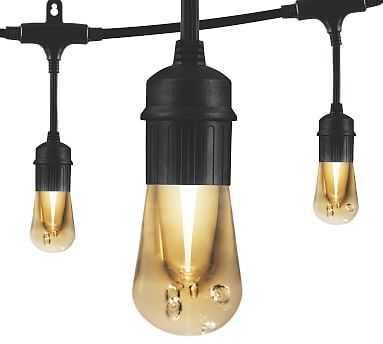 Indoor/Outdoor LED String Lights - Black, 48 Feet - Pottery Barn
