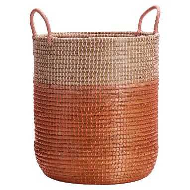 Woven Seagrass Storage Catchall, Blush Ombre - Pottery Barn Teen
