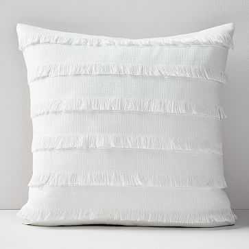 """Fringe Pillow Cover, 20""""x20"""", White - West Elm"""